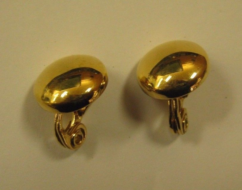 Monet Clip Earrings Small Gold Colored On Style Marked