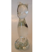 Vintage Sitting Cat Clear Glass Figurine Statue Kitten Signed on Bottom - $22.72