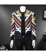 Gold Baroque Stripe Flower Mens Bomber Jackets Party Club Jaqueta Bomber... - $162.24