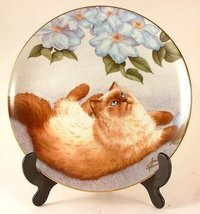 Danbury Mint c1989 cat plate - Birds Eye View from Cats and Flowers collection - - $48.41