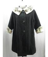 Vintage 60's Italian Black Wool Knit Swing Coat Mink Collar Cuffs Size: S/M - $125.00