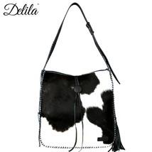 Delila by Montana West 100% Genuine Leather Hair on Hide Tote Handbag w Tassels - $184.99