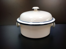 VTG White and Navy Blue DANSK BISTRO Maribo Japan LARGE POT With Lid  - $127.71
