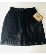 Harley Davidson Womens 8 Black Denim Jean Skirt 5 Pockets Grommets at He... - $24.50