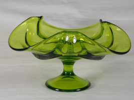 Viking Epic Drape Avocado Green Glass Taper Candle Holder Compote #6949, Footed  - $43.00