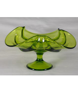 Viking Epic Drape Avocado Green Glass Taper Candle Holder Compote #6949,... - $43.00