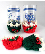 Retro 1950s Christmas Crocheted Glass Holders Drink Sleeves Bells Red Green - $18.00