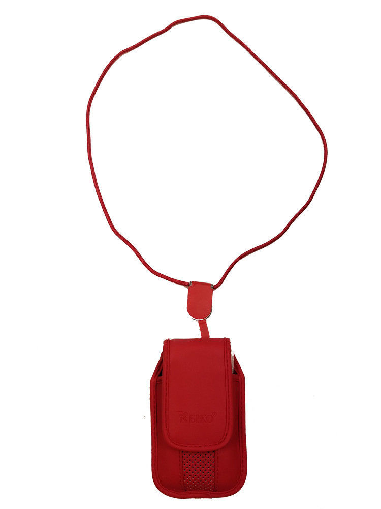 Around the neck Red hanging case and lanyard fits LG 236c