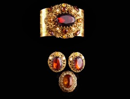 Dramatic Baroque Bracelet - vintage Victorian Revival earrings - jeweled ring -  - $265.00