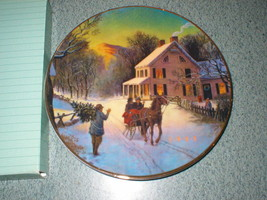 "Vintage Avon ""Home for the Holidays"" 1988 Porcelain Plate Trimmed w/ 22K... - $4.97"