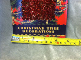 Red Tinsel Garland for Christmas Tree Decoration - 9ft - in vintage look box image 6