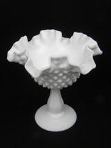 """Vintage Fenton Milk Glass Hobnail Double Crimped Ruffled Edge 6"""" Footed Comport - $10.99"""