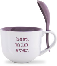 Best Mom Ever Soup Bowl With Spoon White Purple Stoneware 16 oz New  - $319,14 MXN