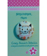 Cat Gray Brown 2 Needleminder fabric cross stitch needle accessory - $7.00