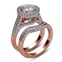 14k Rose Gold Plated 925 Silver Round Cut White Diamond Bridal Wedding Ring Set - $95.99