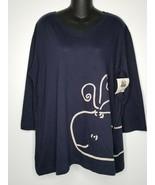 Marushka Dark Blue Navy Alaska Whale Print Shirt Top XL NEW Ladies Womens - $24.99
