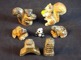 Set of 7 OCCUPIED JAPAN PORCELAIN FIGURINES SQUIRREL FROGS Pagodas - $11.87