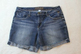 Justice Girls Shorts Size 14.5 Denim Stretch Simply Low Rolled Frayed Hems - $19.16