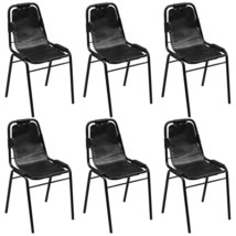 vidaXL 2/4/6 pcs Dining Chairs Industrial Style Black Leather Chair Furn... - €121,35 EUR+