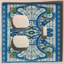 Stained blue glass art Light Switch Outlet Wall Cover Plate Home Decor image 2