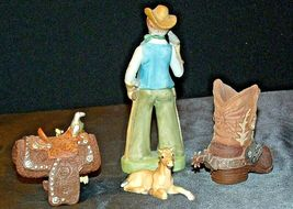 Cowboy Figurine with a Saddle, Cowboy Boot and a Colt figurines AA20-2078 Vintag image 4