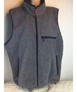Eddie Bauer Gray Black Trim Polartec Fleece Vest Full Zip Men's Size L - $23.36