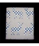 Arctic Retreat Navy Plaid Reindeer Grey 4-Pc KING Turkish Flannel Sheet ... - $77.99