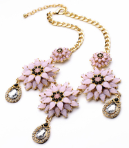 Gold Color Chunky Pink Luxury Flowers Necklace With Tear - $28.53