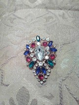 VINTAGE GOLDEN PIN BROOCH PEAR SHAPED MULTI COLOR FAUX JEWEL CLUSTER - $20.00