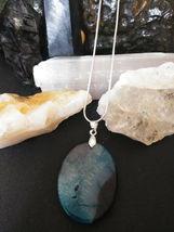 Natural Healing Blue Druzy Quartz Pendant Necklace 925 Sliver Chain BValentines  image 3