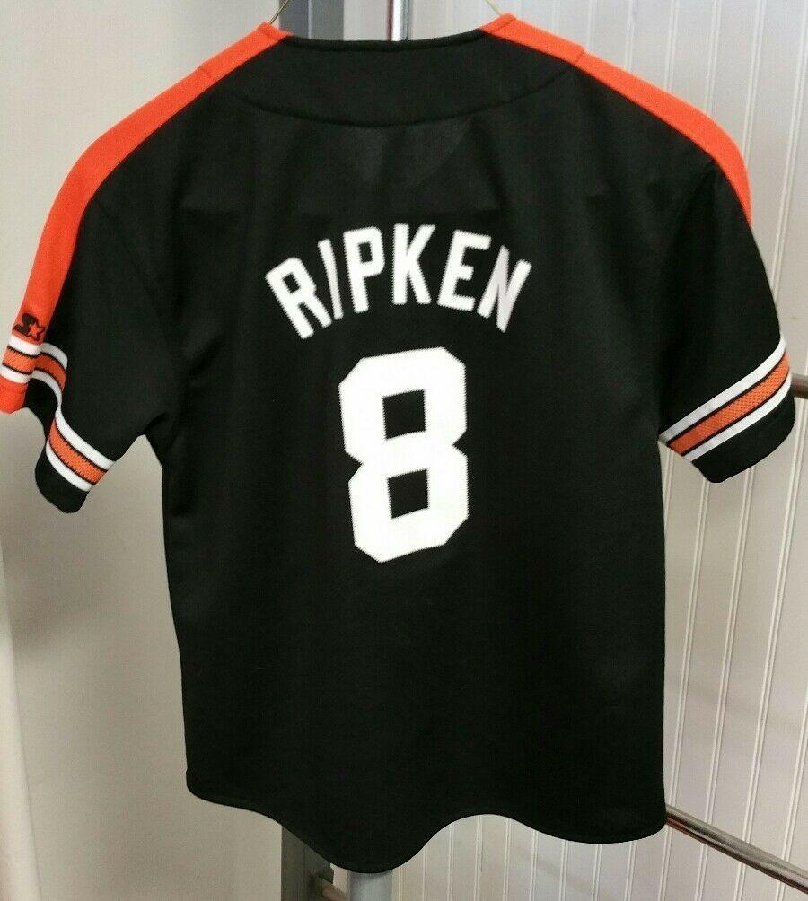 VTG Cal Ripken Jr Starter Jersey 1990's YTH Large MLB Baltimore Orioles Black #8