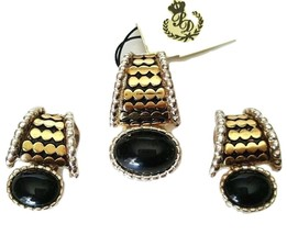 Premier Designs MIRA Slide Pendant and Clip Earrings Gold Silver Black S... - $16.82