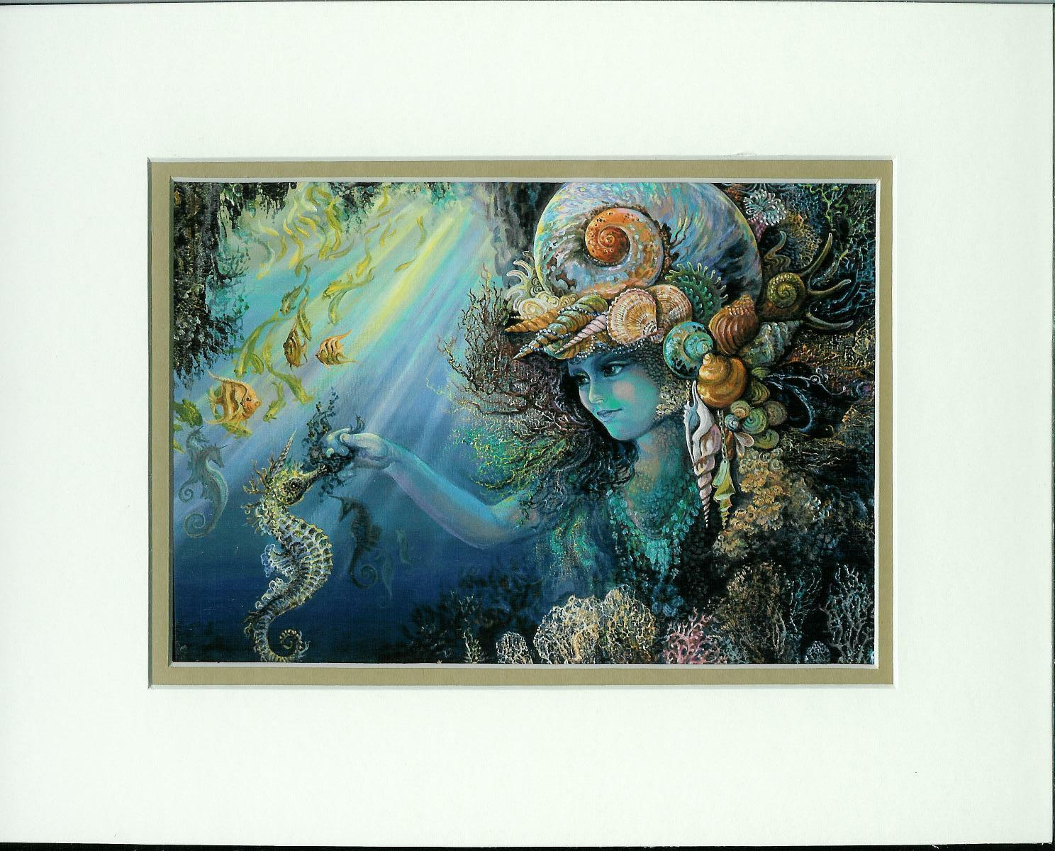 Primary image for Shell Child by Josephine Wall  Double Matted Fantasy Print Fits 8x10 Frame ❤❤