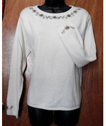 Laura Scott Winter Sweater X Large Beige Floral Embroidery Cotton Blend ... - $19.75