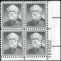 1955 Robert E Lee Plate Block of 4 US Postage Stamps Catalog Number 1049 MNH