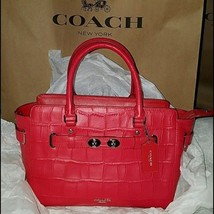 COACH EMBOSSED CROC LTHR BLAKE CARRYALL/SHOULDER BG/XBODY NWT RED $650 - £163.68 GBP