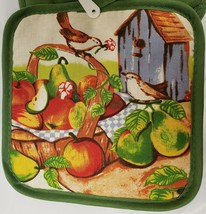"2 Same Printed Kitchen Pot Holders (7"" x 7"") w/green back, BIRDS & FRUIT... - $7.91"