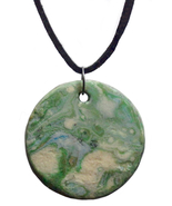 Marbleized Round Polymer Clay Pendant - $20.00
