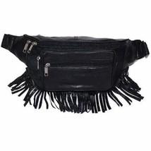 Black Genuine Leather Zippered Pockets Waist Fanny Pack 605 (C) - $10.99