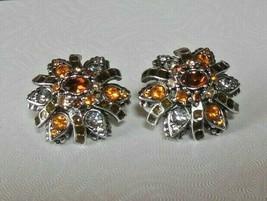 Vintage Joan Rivers Silver-tone Topaz Color teardrop Rhinestone Clip-on Earrings - $45.00