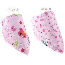 Lovely Pink Cotton Double Layer Saliva Towel Adjustable Baby Neckerchief 1611""