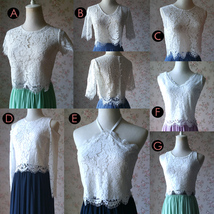 Short Sleeve White Lace Crop Top Round Neck Lace Bridesmaid Lace Top image 5