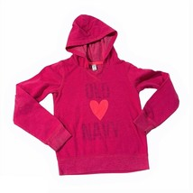 Old Navy Girls Long Sleeve Pink Heart pullover Hoodie  Sweater Size L 10-12 EUC - $7.92