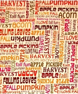 Benartex Kanvas Designer Autumn,Fall Words Quilt Fabric, Harvest, Pumpki... - $4.13