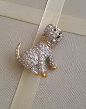 Vintage Gold Trim Clear Crystal Rhinestone Sitting Dog Fashion Brooch - $30.00