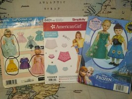 """18"""" Doll Clothes Patterns Lot of 3 Simplicity 8401, 0616, 1088 - American Girl - $24.99"""