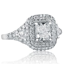 1.96 Ct Radiant Cut Trillion Diamond Engagement Double Halo Ring 18k Whi... - €3.202,67 EUR