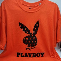 Playboy Bunny Tee XL Men's T-Shirt Orange Short Sleeve Logo Shirt - $21.85
