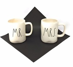 Rae Dunn MR And  MRS Mug Set  Brand New Two Mug Bundle Cream And Black - $16.82