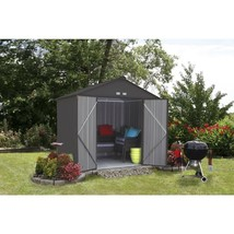 Storage Shed 8 x 7 Galvanized Steel Charcoal High Gable Outdoor Backyard... - $525.68